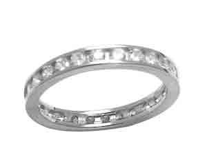 Size 5 1/2 Eternity Channel Cubic Zirconia Band 14k White Gold Ring