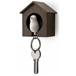 Birdhouse Key Ring -Brown House with White Bird