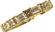 14k Yellow Gold, Eternity Band Ring with Brilliant Lab Created Gems