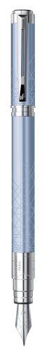 Waterman - Perspective: Laque Light Blue CT Fountain-Pen, Chrome Trims, Fine Nib