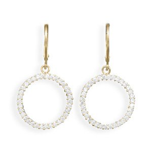 14 Karat Gold Plated Lever Fashion Earrings with CZ Circle Drop