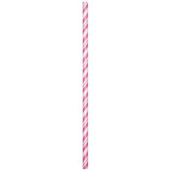 Candy Pink Striped Paper Straws (24ct)