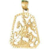 CleverEve 14K Yellow Gold Warrior on Horse Pendant 2.1 Grams