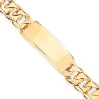 14k Hand-Traditional Heavy ID Bracelet - 8.5 Inch - 16mm - Box Clasp - JewelryWeb