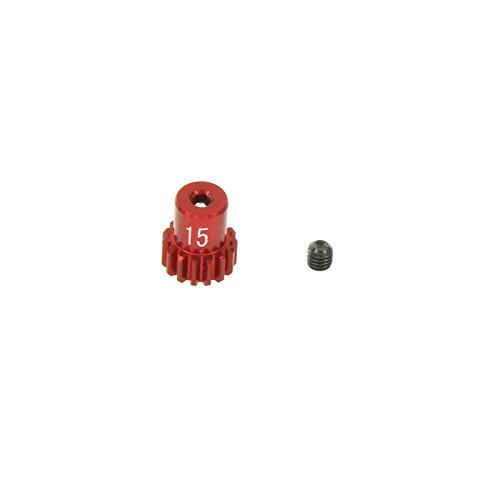 GPM Racing 15T Pinion Gear for 1:18 Associated 18B2 + Other AE Models, Red - 1
