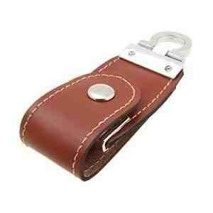 8GB Leather USB 2.0 Flash Disk Drive with Polished Key Ring Brown by EASYWORLD