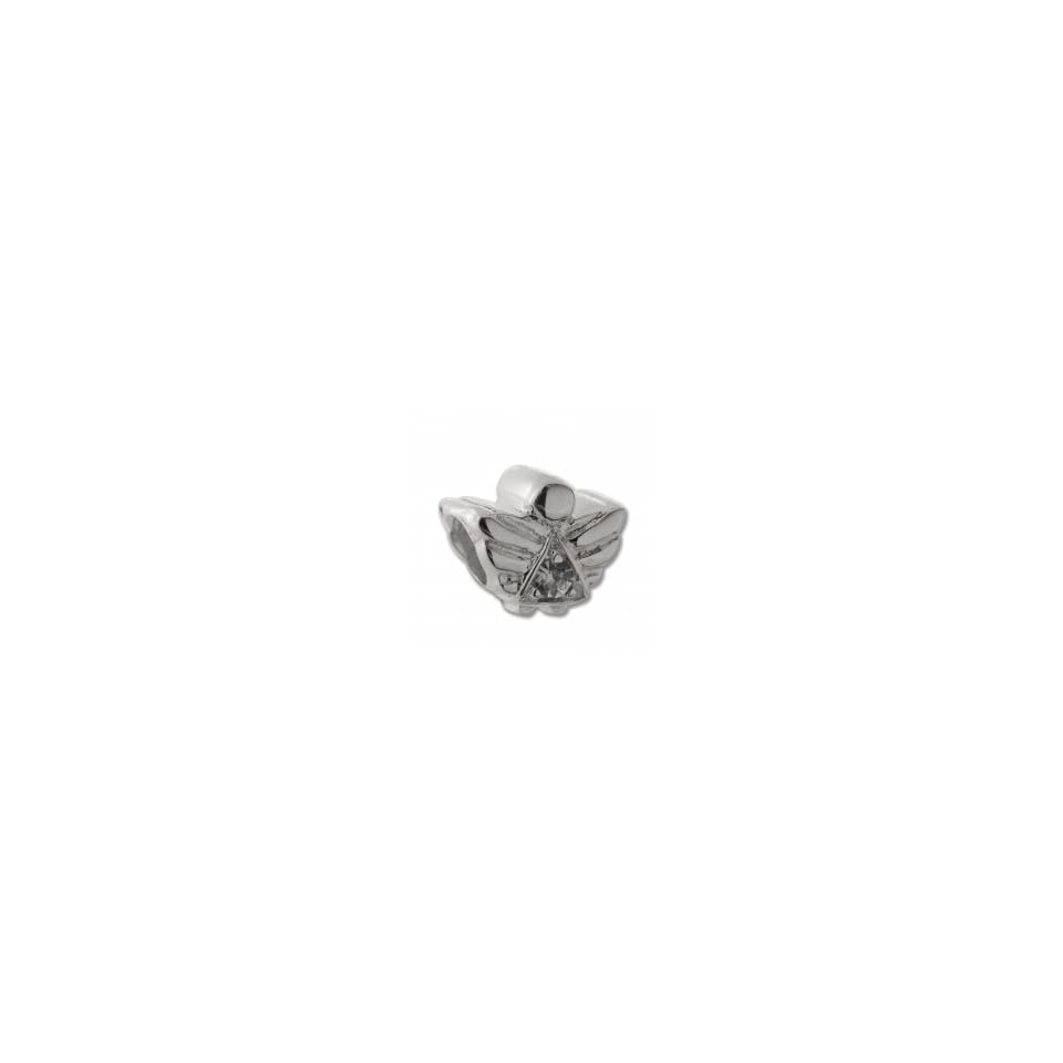 8adb09911 Authentic Biagi CZ Birthstone Angel April Clear CZ Bead Charm .925 Sterling  Silver fits Pandora, Chamilia, and most European bead bracelets