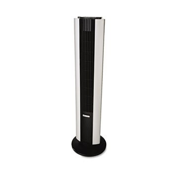 Remote Control Tower Fan, Three Speed, Black/Silver
