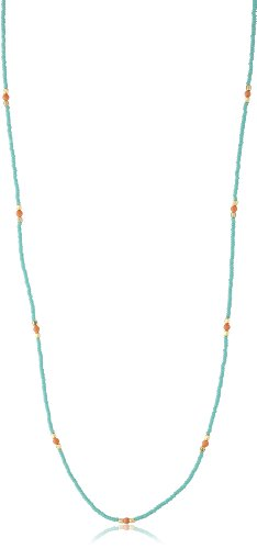 Chibi Jewels Turquoise Glass Bead and Pink Coral Necklace