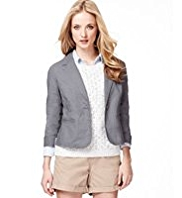 Indigo Collection Linen Blend Welt Pockets Blazer