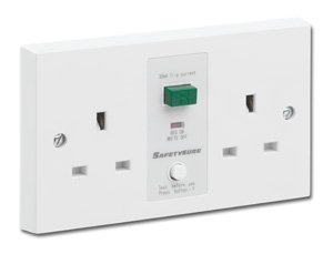 SafetySure RCD Socket White 2 Gang 13A 30mA