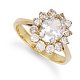 Jewelco London 9ct Solid gold cubic zirconia set Cluster Ring,Size K