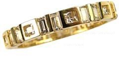 14k Yellow Gold, Fancy Eternity Endless Band Ring with Created Gems
