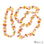 12 Bright Rainbow Hawaiian Flower Lei Party Necklace