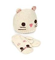 2 Piece Mouse Design Hat & Mittens Set