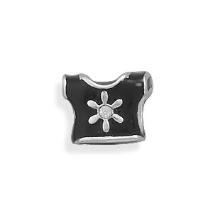 Sterling Silver and Black Epoxy Two Sided T-shirt Story Bead Charm With Clear Crystal Accents