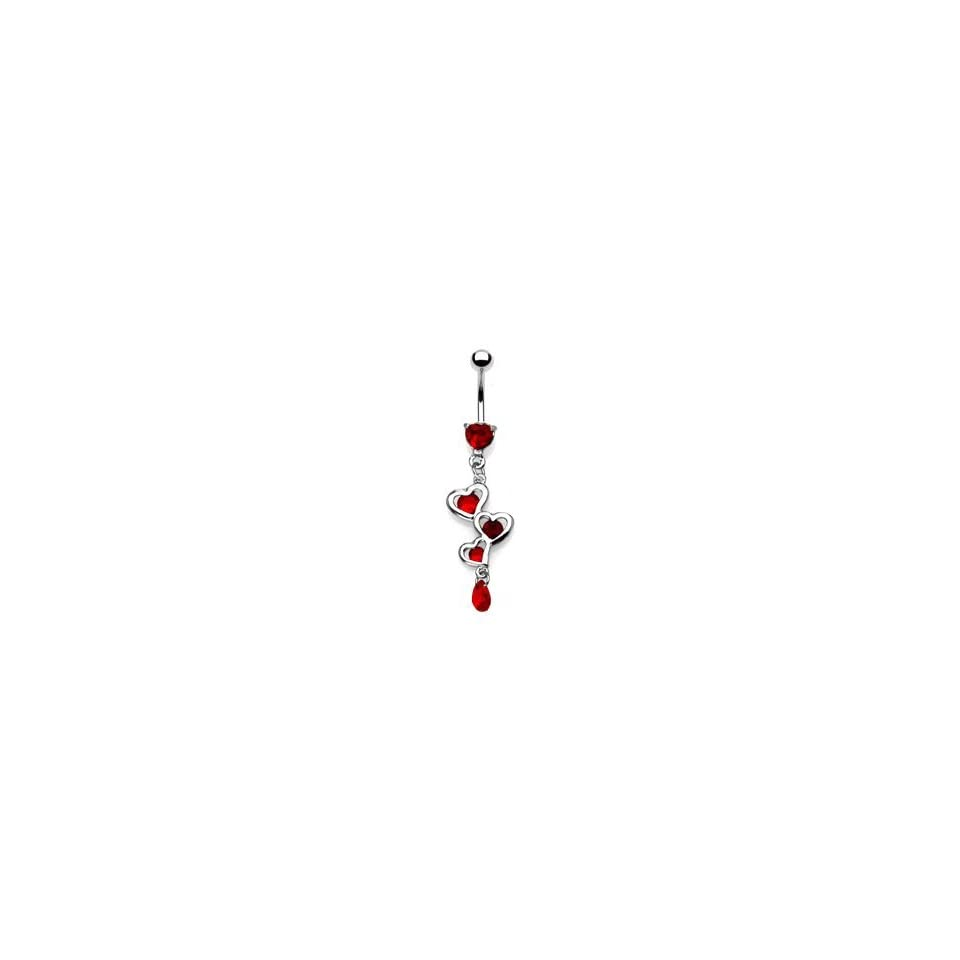 Red 3 Heart dangle Belly Ring Navel piercing bar