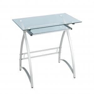 Buy Low Price Comfortable Walker Edison Alexa Solo Clear/Silver Computer Desk (B0042J4A6A)
