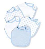 5 Pack Pure Cotton Star & Striped Bibs