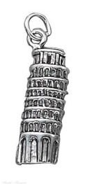 Sterling Silver Leaning Tower Of Pisa Vacation Travel Tour Charm