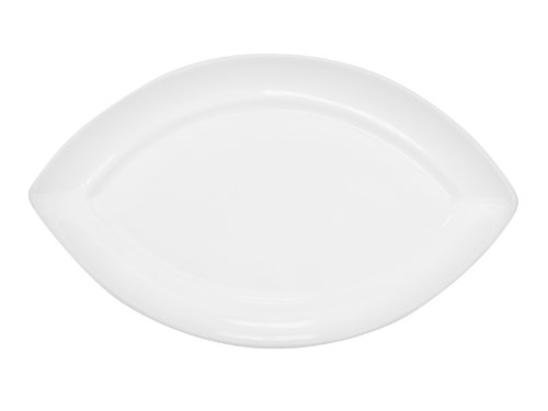 Cac China Rcn-Sw12 Clinton Rolled Edge 10-1/2 By 6-1/4 By-3/4-Inch Porcelain Swallow Platter, Super White, Box Of 24