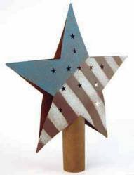 Factory Direct Craft Primitive Rusty Tin Americana Red White & Blue Star Tree Topper
