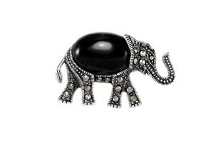 Sterling Silver Walking Marcasite Black Onyx