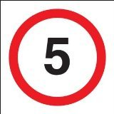 Reflective Road Traffic Sign - 5mph Maximum Speed (3mm aluminium) 300mm dia - For wall mounting