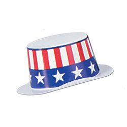 Miniature White Plastic Topper w/Patriotic Band Party Accessory (1 count) - 1