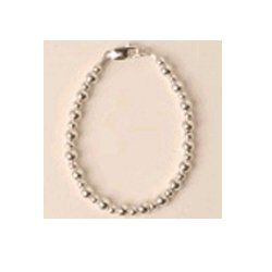 Silver Beaded Bracelet - Size 6.5 inches