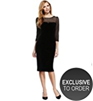 M&S Collection 3/4 Sleeve Mesh Yoke Velour Dress
