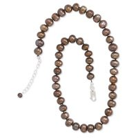 Extension Bronze Cultured Freshwater Pearl Knotted Necklace, Sterling Silver