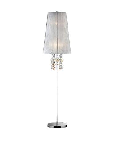 ORE International Moon Jewel 2-Light Floor Lamp with Elongated Shade, Silver/Ivory