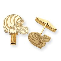 14K Cincinnati Bengals Helmet Cuff Links - JewelryWeb