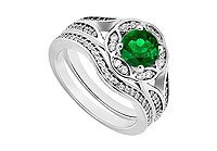 Emerald Diamond Engagement Ring with Wedding Band Sets 14K White Gold 0.90 CT TGW