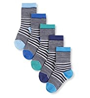 5 Pairs of Autograph Cotton Rich Striped Socks