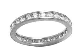 Size 6 1/2 Eternity Channel Cubic Zirconia Band 14k White Gold Ring