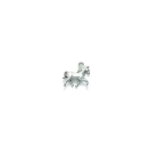 Shipwreck Beads Pewter Horse Charm, Silver, 16 by 18mm, 4-Piece