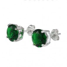 Sterling Silver.925 Emerald Color Cubic Zirconia Stud Earrings 2.00 Carats Total Weight Comes in a Gift Box & Special Pouch
