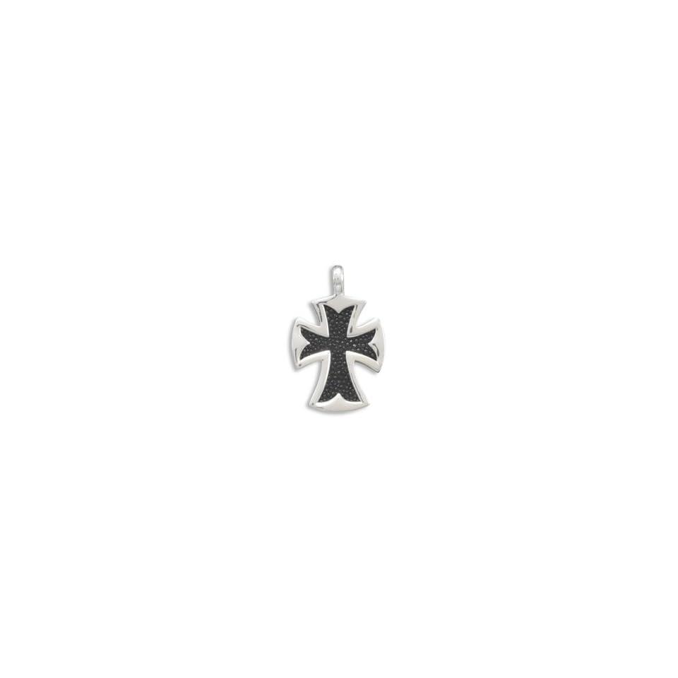 Black Stingray Large Cross .925 Sterling Silver Pendant