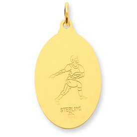 24k Gold-plated Sterling Silver Saint Christopher Football Medal