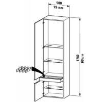 Duravit 9245R-13 American Walnut Happy D. Tall Cabinet, Right Handed Door