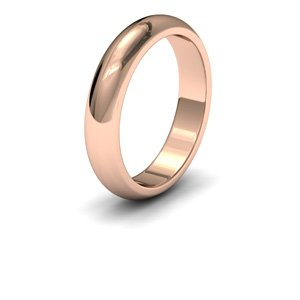 9ct Rose Gold, 4mm Wide, 'D' Shape Heavy Weight Wedding Ring