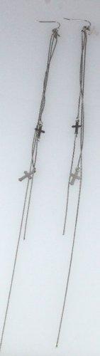 5030027 Long Chain Cross Earrings Christian Religious