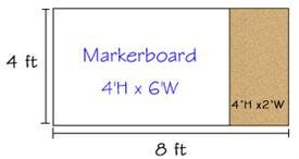 Combination Porcelain Steel Marker and Bulletin Boards-type E reverse EL 4' x 8' (Tack-Le' 4' x 2', Marker-Cent Right 4' x 6')