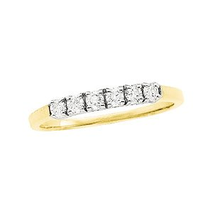 14k Yellow Gold Rough Diamond Band Ring 1/4ct - Size 6 - JewelryWeb