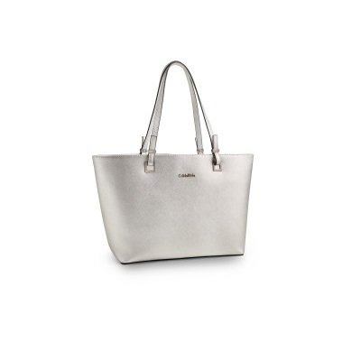 c024a2830b7 Calvin klein 8908913819776 Scarlett Saffiano Leather Shopper Tote Silver- Price  in India