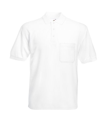 Fruit of the loom Mens 65-35 pocket polo T-Shirt - Medium - White