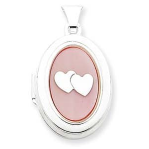 PriceRock Sterling Silver MOP with 2 Hearts 2-Frame Oval Locket