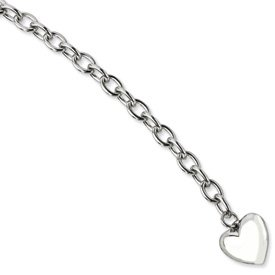 Stainless Steel Polished Open Link With Heart Bracelet - 8.5 Inch - JewelryWeb